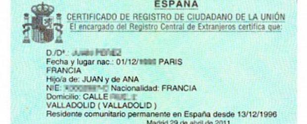 certificado residente